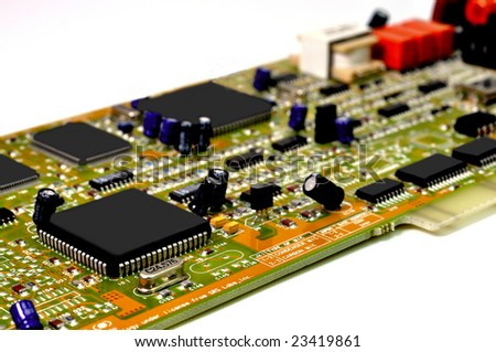 Circuit board isolated on white background. - stock photo