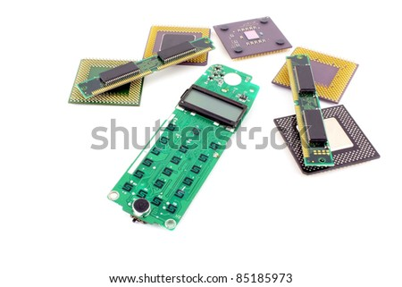 Circuit board (keypad) for cell phone with processors and RAM over white. - stock photo