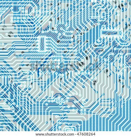 Circuit board light blue square hi-tech texture - stock photo
