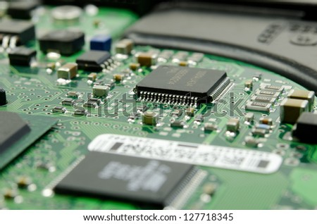 circuit board of harddrive, close up