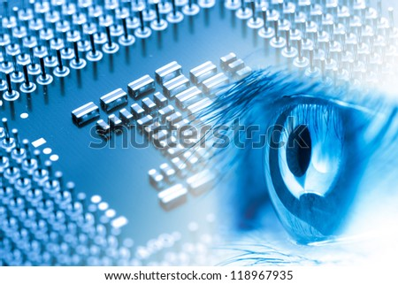 circuit board of laptop CPU eye background