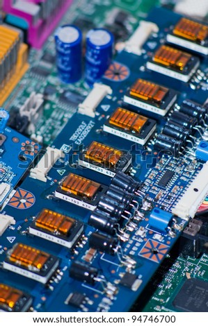 Circuit board part with induction coils line - stock photo
