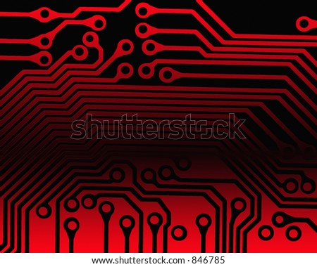 Circuit board pattern in red