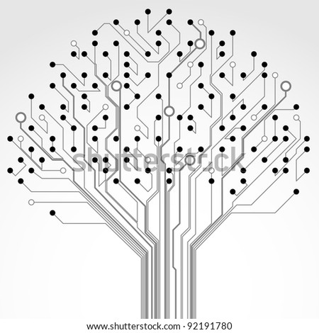Circuit board pattern in the shape of the tree. Illustration. - stock photo