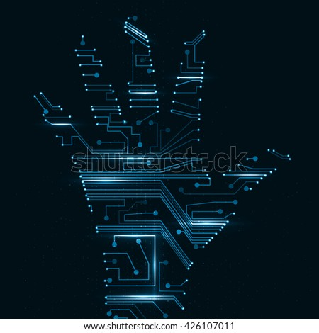 Circuit board shape of hand palm, abstract technology illustration