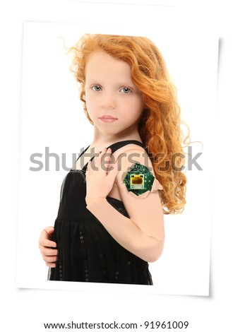 Circuit board showing through crack in cyborg child arm over white background. - stock photo