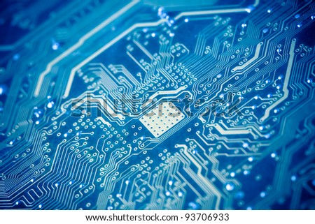 circuit board with blue tone - stock photo