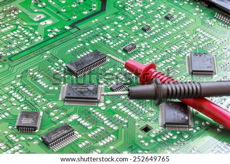 Circuit board with electronic components for background.