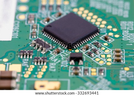 Circuit board with microchip closeup