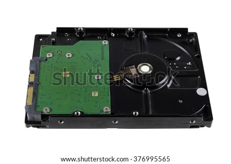 Circuit boards, hard disk isolated white background. - stock photo