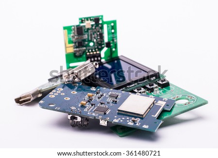 Circuit boards with a display - stock photo