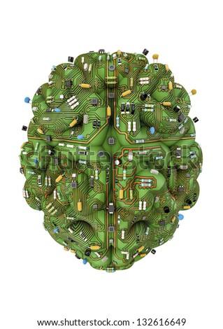 Circuit brain - stock photo