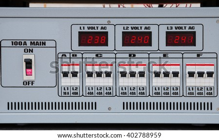 Circuit breaker for consumer unit and load center - stock photo