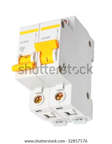 Circuit Breaker on a white background. Circuit breaker used on items such as a residential iron, hot water heater, a kitchen oven, or an electric clothes dryer. The isolated object. - stock photo