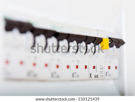 Circuit breakers at new house - stock photo