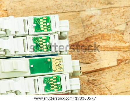 circuit of inkjet printer cartridge In general printing - stock photo