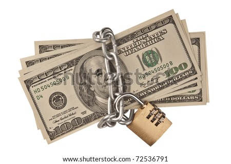 Circuit with the lock on a pack of dollars - stock photo