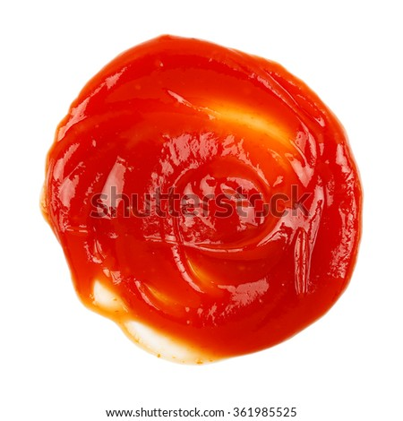 circular amount of ketchup isolated on white