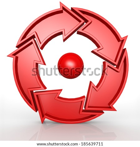 Circular 5 arrows in red - stock photo