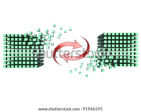 Circular arrows turning on themselves between two 3D-modeled sets of cubes, representing the notion of exchange - stock photo