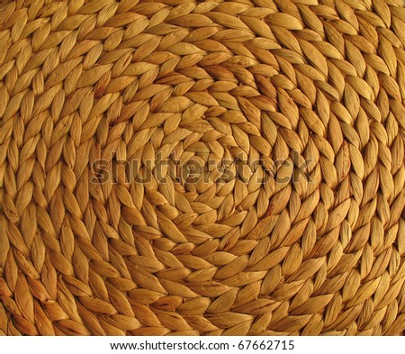 Circular background from rattan fibers - stock photo