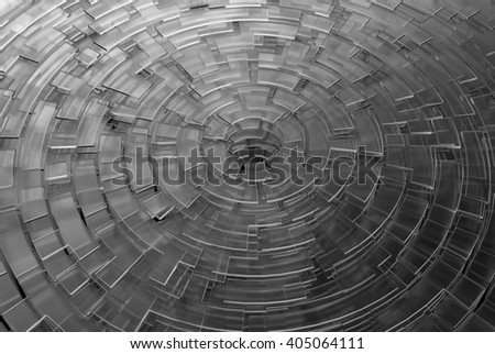 Circular background glass 3d rendering