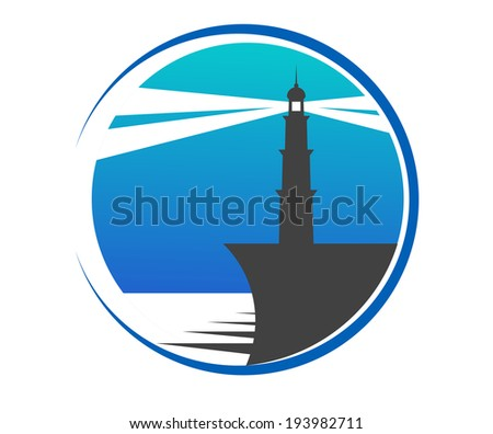 Circular blue lighthouse button or icon with a lighthouse on the edge of a pier with beams of light piercing the twilight to warn shipping of danger. Vector version also available in gallery - stock photo