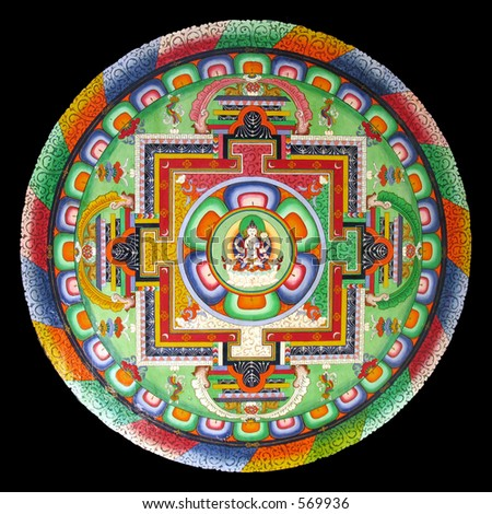 Circular Buddhist painting on a temple