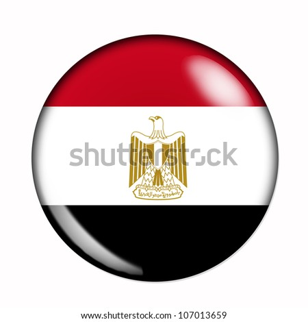 Circular,  buttonised flag of Egypt - stock photo