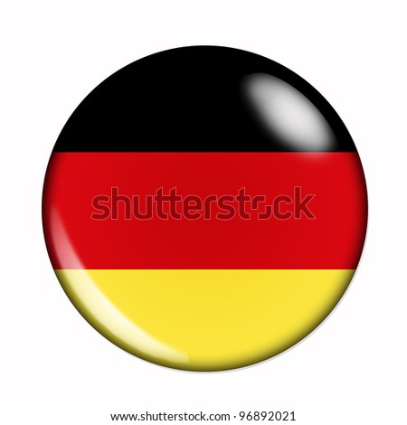 Circular, buttonised flag of Germany - stock photo