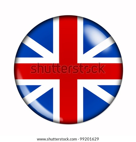Circular,  buttonised flag of Great Britain - stock photo