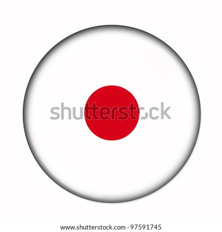 Circular,  buttonised flag of Japan - stock photo