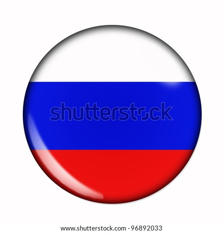 Circular, buttonised flag of Russia - stock photo