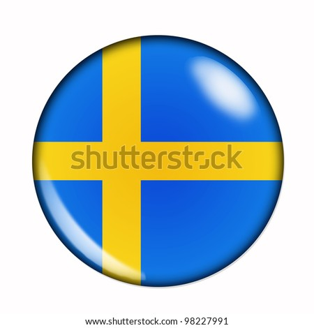 Circular,  buttonised flag of Sweden - stock photo