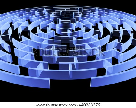Circular 3d maze of blue color. Isolated on black background - stock photo