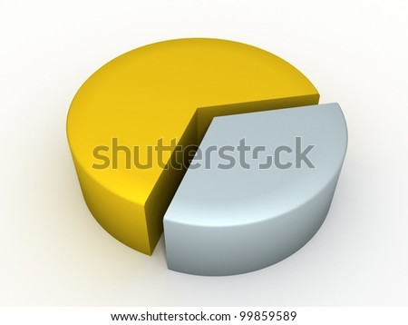 Circular diagram of 60% gold and 40% silver - stock photo