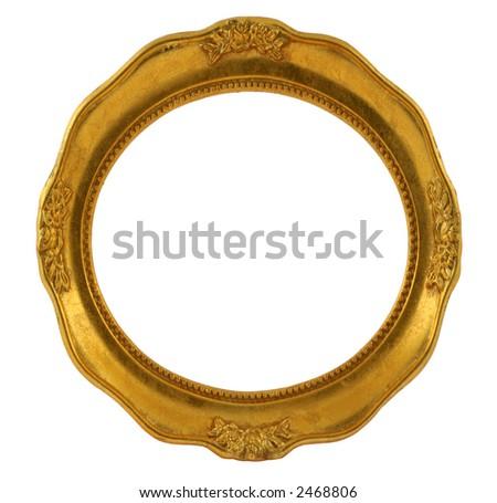 circular golden frame isolated on white - stock photo