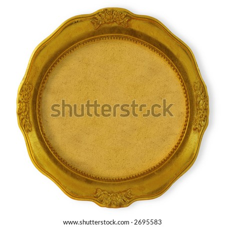 circular golden frame with background isolated on white - stock photo