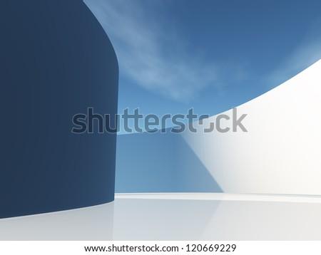 Circular hallway with sky - stock photo