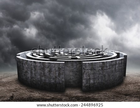 Circular labyrinth - stock photo