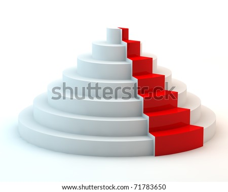 Circular ladder with red sector - stock photo
