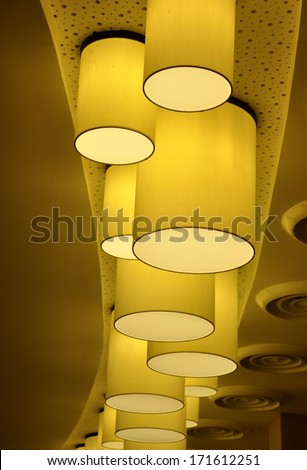 Circular lamp in the ceiling - stock photo