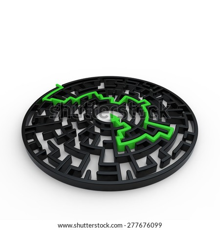 Circular maze with black walls and green arrow path on a white background