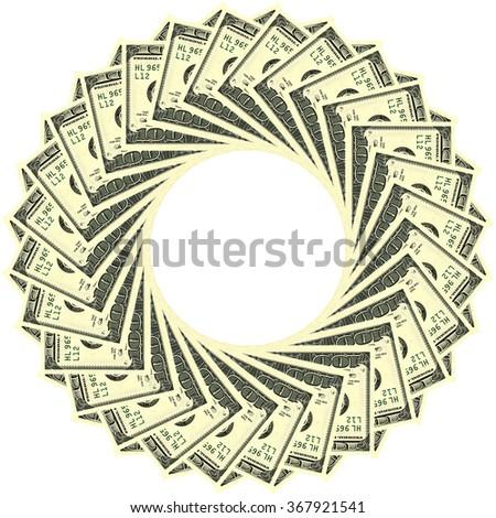 Circular ornament one hundred dollar bill obverse - stock photo