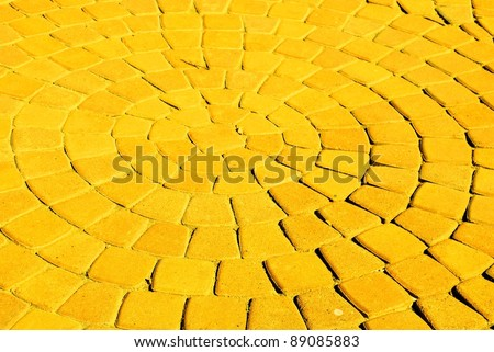 circular path yellow brick road - stock photo
