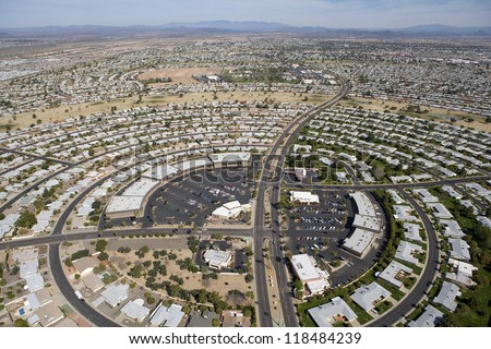 Circular pattern of rooftops in Sun City. Arizona - stock photo