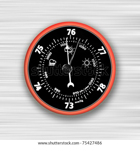 Circular red and black barometer on abstract background - stock photo