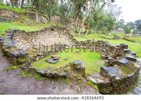 Circular ruins of a house in the ancient ruins of Kuelap, Peru - stock photo