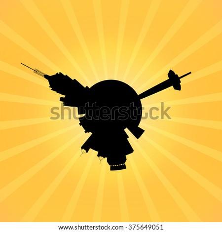 Circular San Antonio skyline on sunburst illustration - stock photo