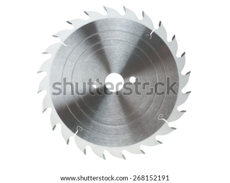 Circular saw blade isolated on white - stock photo